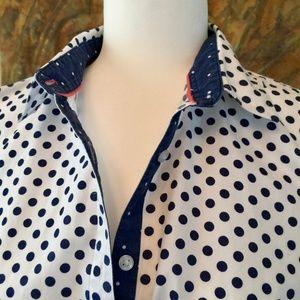Dunnes Ireland cotton button down polka dot 18